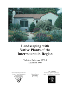 Landscaping with Native Plants of the Intermountain Region Technical Reference 1730-3
