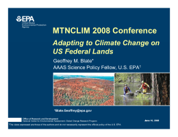 MTNCLIM 2008 Conference Adapting to Climate Change on US Federal Lands