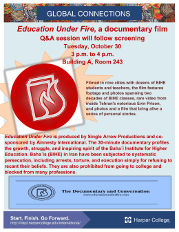 Education Under Fire, Q&A session will follow screening  Tuesday, October 30