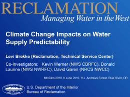 Climate Change Impacts on Water Supply Predictability
