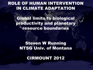 ROLE OF HUMAN INTERVENTION IN CLIMATE ADAPTATION  Global limits to biological