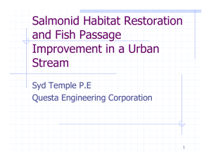 Salmonid Habitat Restoration and Fish Passage Improvement in a Urban Stream
