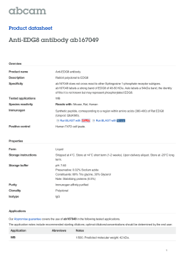 Anti-EDG8 antibody ab167049 Product datasheet Overview Product name