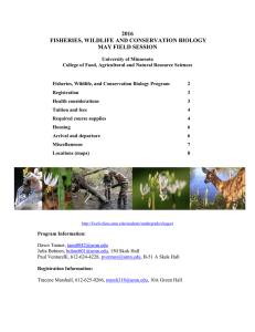2016 FISHERIES, WILDLIFE AND CONSERVATION BIOLOGY MAY FIELD SESSION