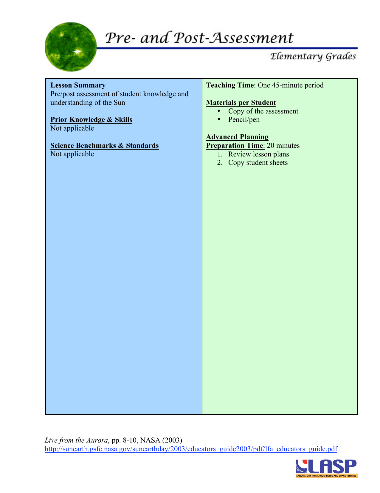 Lesson Summary Teaching Time Materials per Student Prior