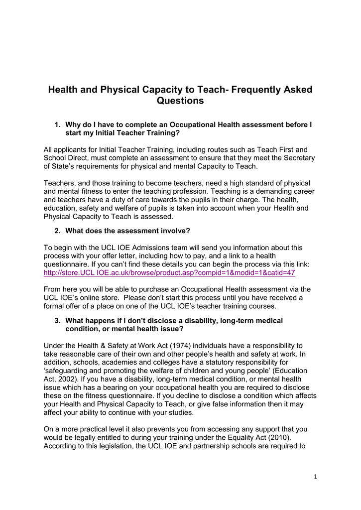 Health And Physical Capacity To Teach Frequently Asked Questions