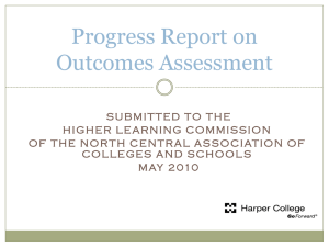 Progress Report on Outcomes Assessment