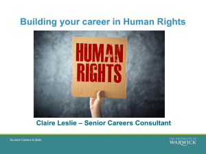 Building your career in Human Rights – Senior Careers Consultant Claire Leslie