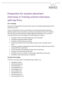 Preparation for vacation placement interviews or Training contract interviews with law firms