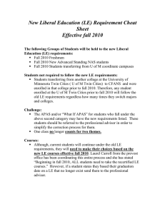 New Liberal Education (LE) Requirement Cheat Sheet Effective fall 2010