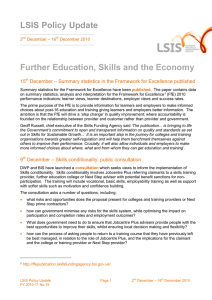 LSIS Policy Update Further Education, Skills and the Economy 15