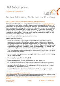 LSIS Policy Update Further Education, Skills and the Economy