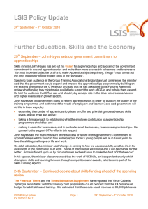 LSIS Policy Update Further Education, Skills and the Economy 29