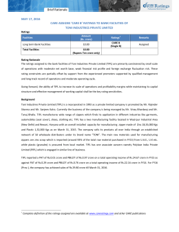 Brief Rationale MAY 17, 2016 TONI INDUSTRIES PRVATE LIMITED
