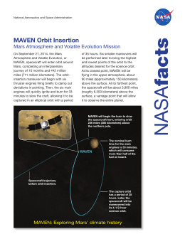 MAVEN Orbit Insertion Mars Atmosphere and Volatile Evolution Mission