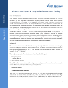 Infrastructure Report: A study on Performance and Funding  s ic