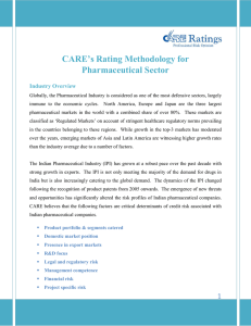 CARE's Rating Methodology for Pharmaceutical Sector Industry Overview
