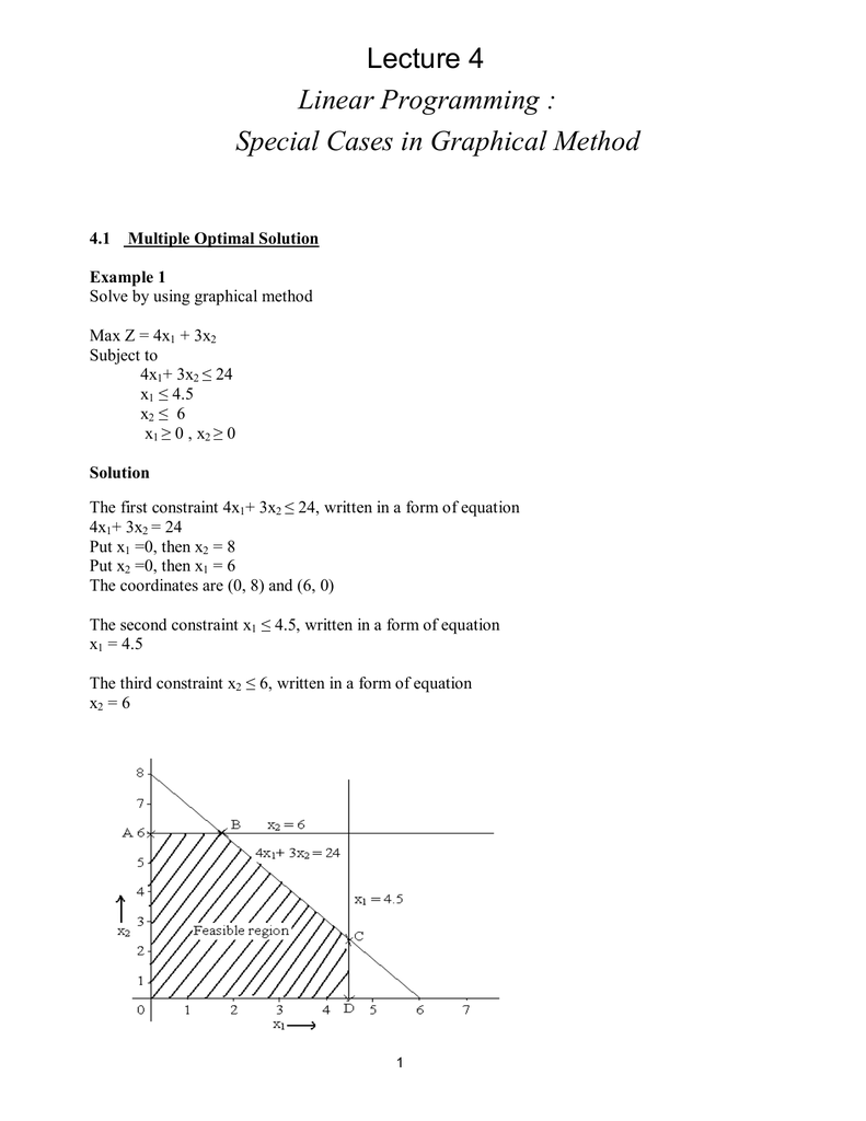 Lecture 4 Linear Programming : Special Cases in Graphical