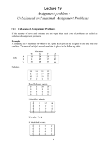 Lecture 19 Assignment problem : Unbalanced and maximal  Assignment Problems