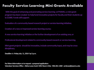 Faculty Service-Learning Mini-Grants Available