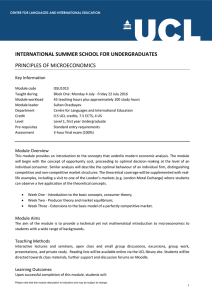 INTERNATIONAL SUMMER SCHOOL FOR UNDERGRADUATES PRINCIPLES OF MICROECONOMICS Key Information