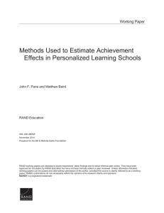 Methods Used to Estimate Achievement Effects in Personalized Learning Schools Working Paper