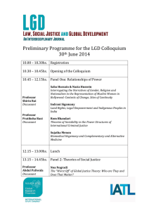 Preliminary Programme for the LGD Colloquium 30 June 2014