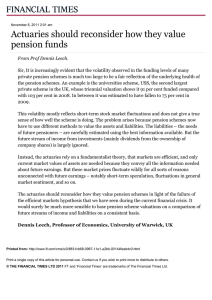 Actuaries should reconsider how they value pension funds