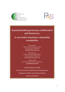 Experimentalist governance, deliberation and democracy: A case study of primary commodity