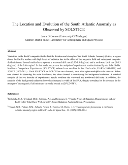 The Location and Evolution of the South Atlantic Anomaly as