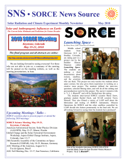 SNS • SORCE News Source Launching Space –