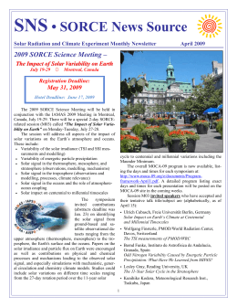 SNS • SORCE News Source 2009 SORCE Science Meeting – May 31, 2009