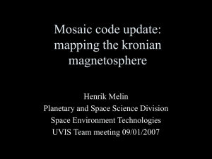 Mosaic code update: mapping the kronian magnetosphere