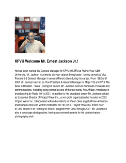KPVU Welcome Mr. Ernest Jackson Jr.!