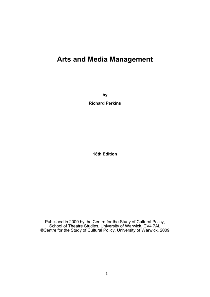 Arts And Media Management