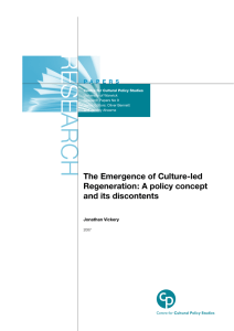 RESE ARCH The Emergence of Culture-led Regeneration: A policy concept