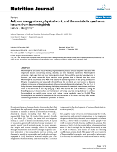 Nutrition Journal Adipose energy stores, physical work, and the metabolic syndrome: