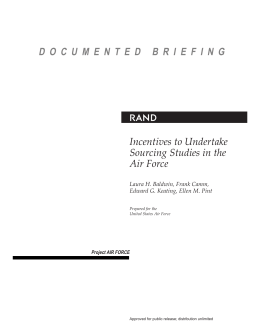 R Incentives to Undertake Sourcing Studies in the Air Force
