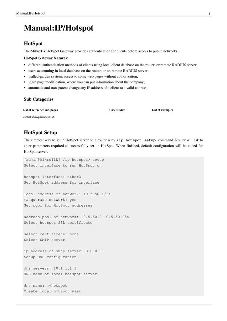 Manual:IP/Hotspot HotSpot