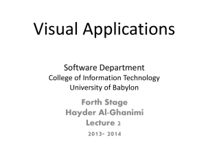 Visual Applications  Software Department Forth Stage