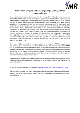 PhD Position: Cryogenic static and magic-angle spinning NMR on superconductors