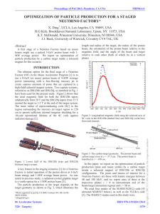 OPTIMIZATION OF PARTICLE PRODUCTION FOR A STAGED NEUTRINO FACTORY*