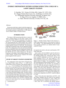 ENERGY DEPOSITION WITHIN SUPERCONDUCTING COILS OF A 4-MW TARGET STATION