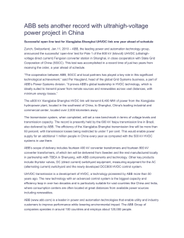 ABB sets another record with ultrahigh-voltage power project in China
