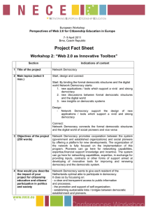 "Project Fact Sheet Workshop 2: ""Web 2.0 as Innovative Toolbox"""