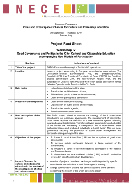 Project Fact Sheet Workshop IV