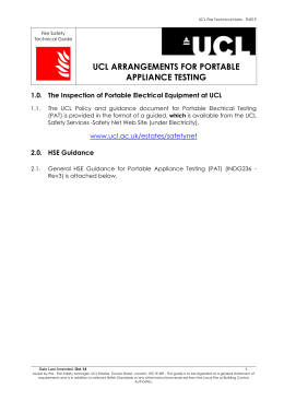 UCL ARRANGEMENTS FOR PORTABLE APPLIANCE TESTING