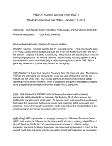 PNWCG Aviation Working Team (AWT) – January 11, 2012 Meeting/Conference Call Notes