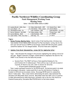 Pacific Northwest Wildfire Coordinating Group Fuels Management Working Team Meeting Notes
