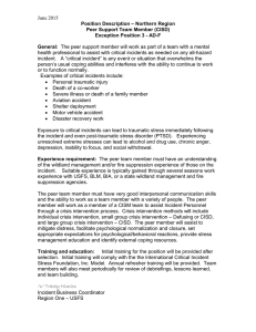 June 2015 Position Description – Northern Region Peer Support Team Member (CISD)